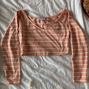 SABO SKIRT pink striped crop long sleeve tee